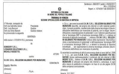 Una sentenza tutela i consumatori contro pubblicità ingannevole e tentativi di imitazione della tecnologia CNT Domodry.